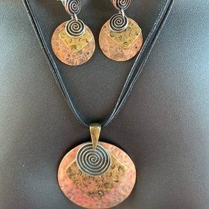Boho Hippie Artsy Pendant Dangle Earrings Set
